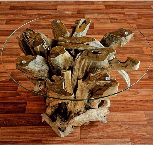 Wurzelholz Couchtisch Beistelltisch IKAL inklusive Glasplatte 80 cm | Tisch aus Wurzel fürs Wohnzimmer in Handarbeit gefertigt | Wurzelholztisch
