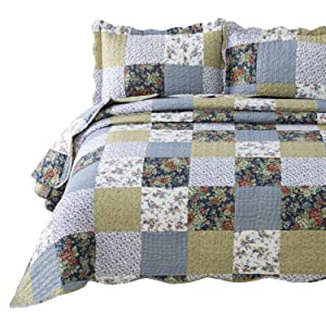 "Bedsure 3-Piece Quilt Set Coverlet Queen/Full Size (90""x96""), Luxury Vintage Plaid Floral Patchwork, Lightweight Bedroom Bedspread for All Season, 1 Quilt and 2 Pillow Shams"
