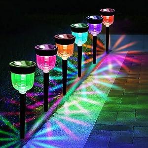 Toyawany Solar Pathway Lights Outdoor, Color Changing Solar Outdoor Garden Lights Landscape Lighting Weatherproof Auto On/Off for Lawn Patio Yard Walkway Sidewalk Driveway (6 Pack)