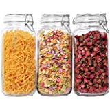 ComSaf Airtight Glass Canister Set of 3 with Lids 78oz Food Storage Jar Square - Storage Container with Clear Preserving Seal