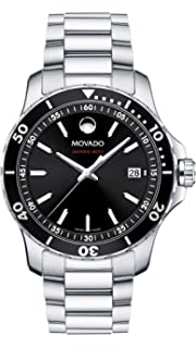 Movado Mens Series 800 Sport Stainless Watch with Printed Index Dial, Silver/Black (