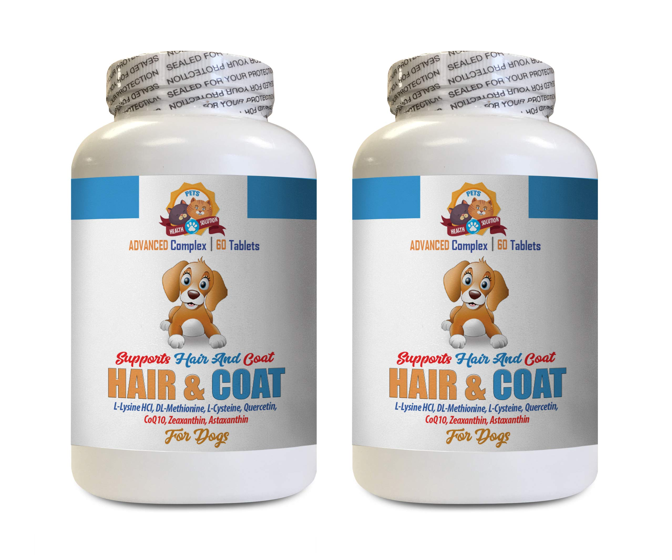 Healthy Coat for Dogs Food - Dog Hair and Coat Health - Skin Itch Relief - Nail Health - Dog Vitamin c - 2 Bottles (120 Tablets) by PETS HEALTH SOLUTION