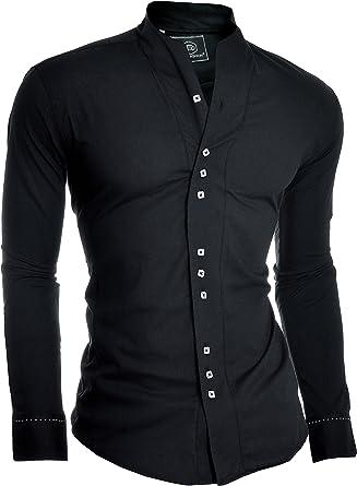 D&R Fashion los Hombres la Camisa Moderna con los PU?os Individuales y el Abuelo del Collar del Estilo Japón: Amazon.es: Ropa y accesorios
