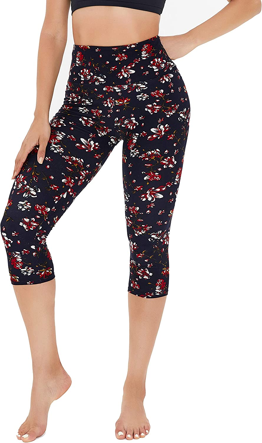 Soft Slim Tummy Control Exercise Pants for Running Cycling Yoga Workout Gayhay High Waisted Capri Leggings for Women