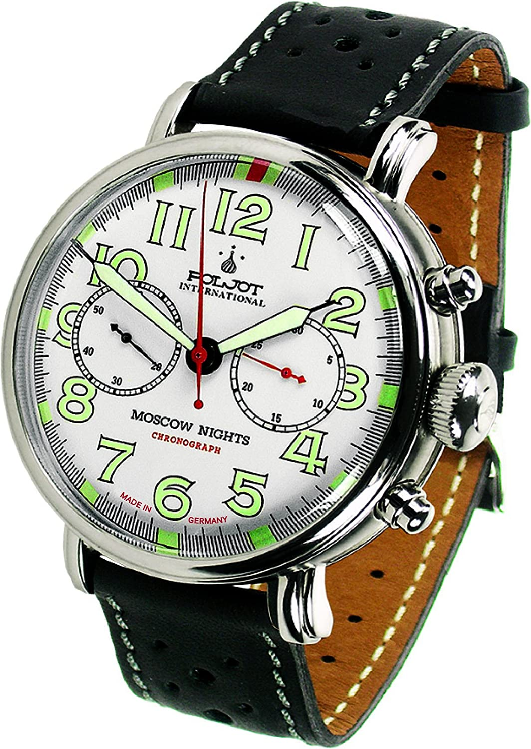 POLJOT Int Chronograph Moscow Nights Mechanische Russische Uhr Lederband