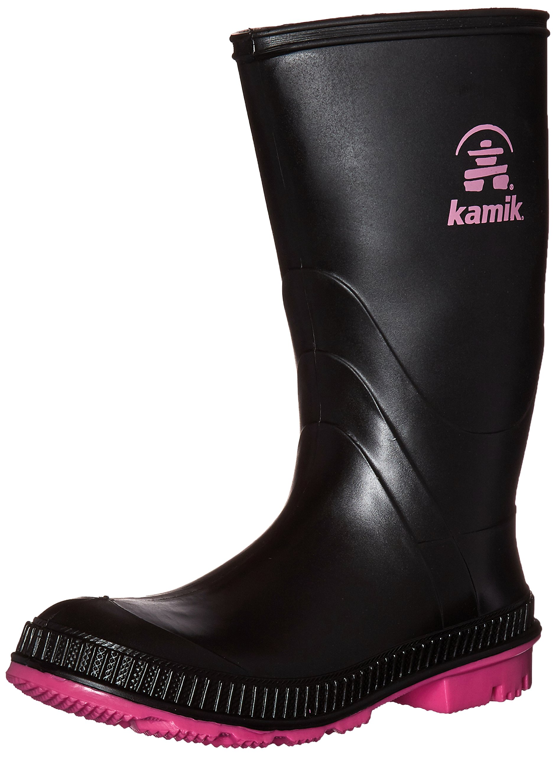 Kamik STOMP/KIDS/PUR/4149F Rain Boot Black/Magenta, 5 M US Big Kid