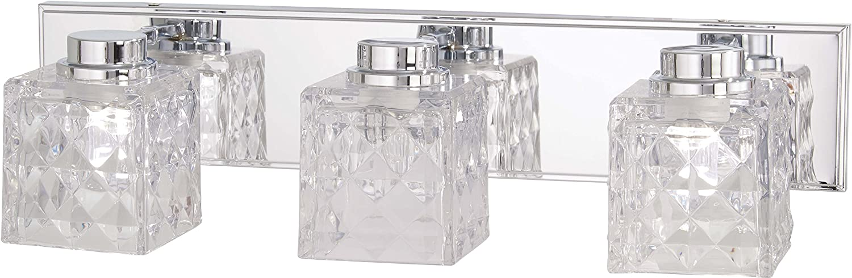 Minka Lavery Wall Light Fixtures 4793-77-L Glorietta Bath Vanity Lighting, 3-Light LED 24 Watts, Chrome