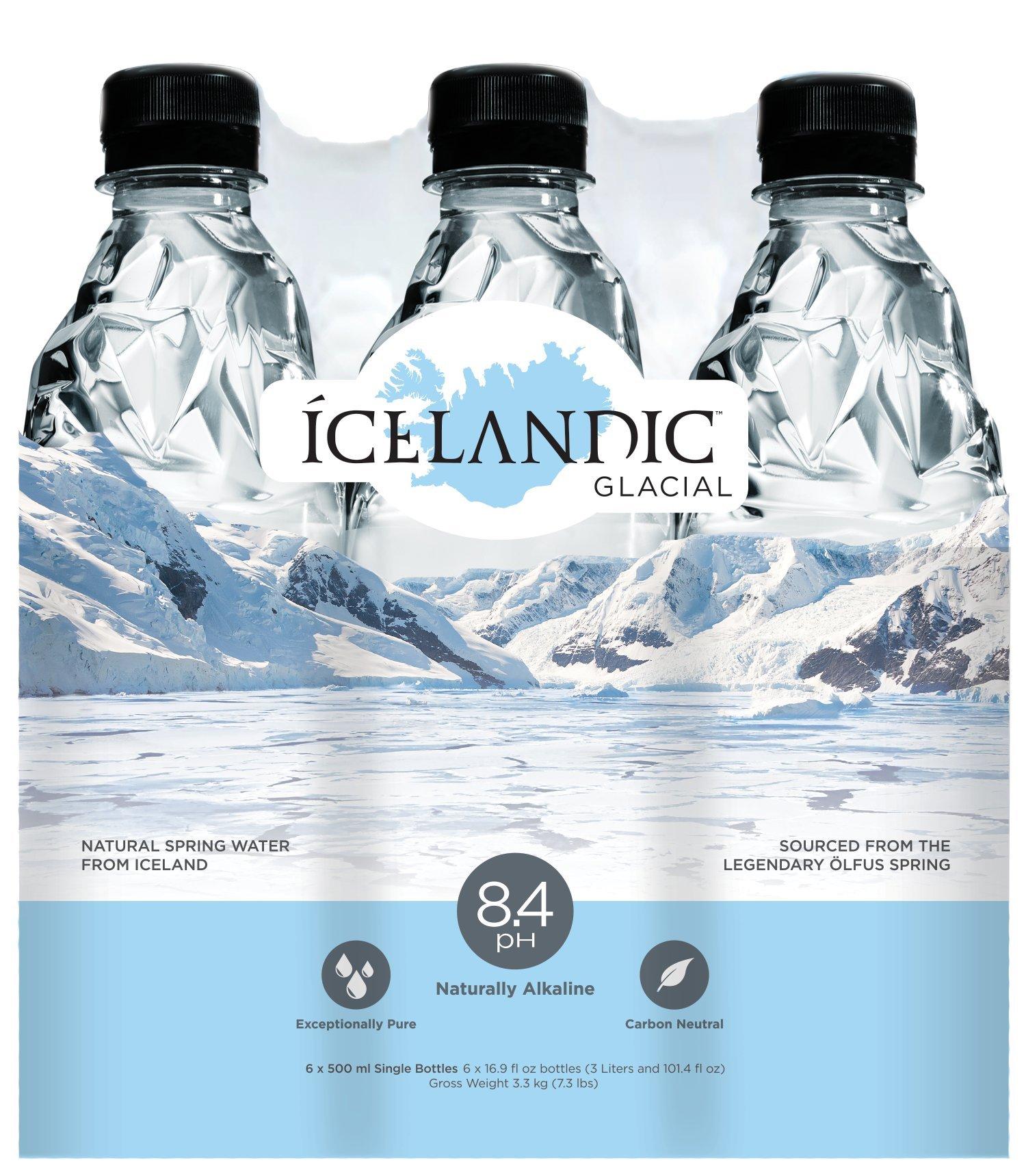 Icelandic Glacial Natural Spring Water, 500 Milliliter, 6 Count