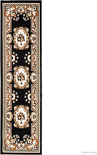 Allstar 2×7 Black Classic French Country Runner Accent Rug with Ivory and Mocha Bordered Medallion Persian Design 1 11 x 7 2