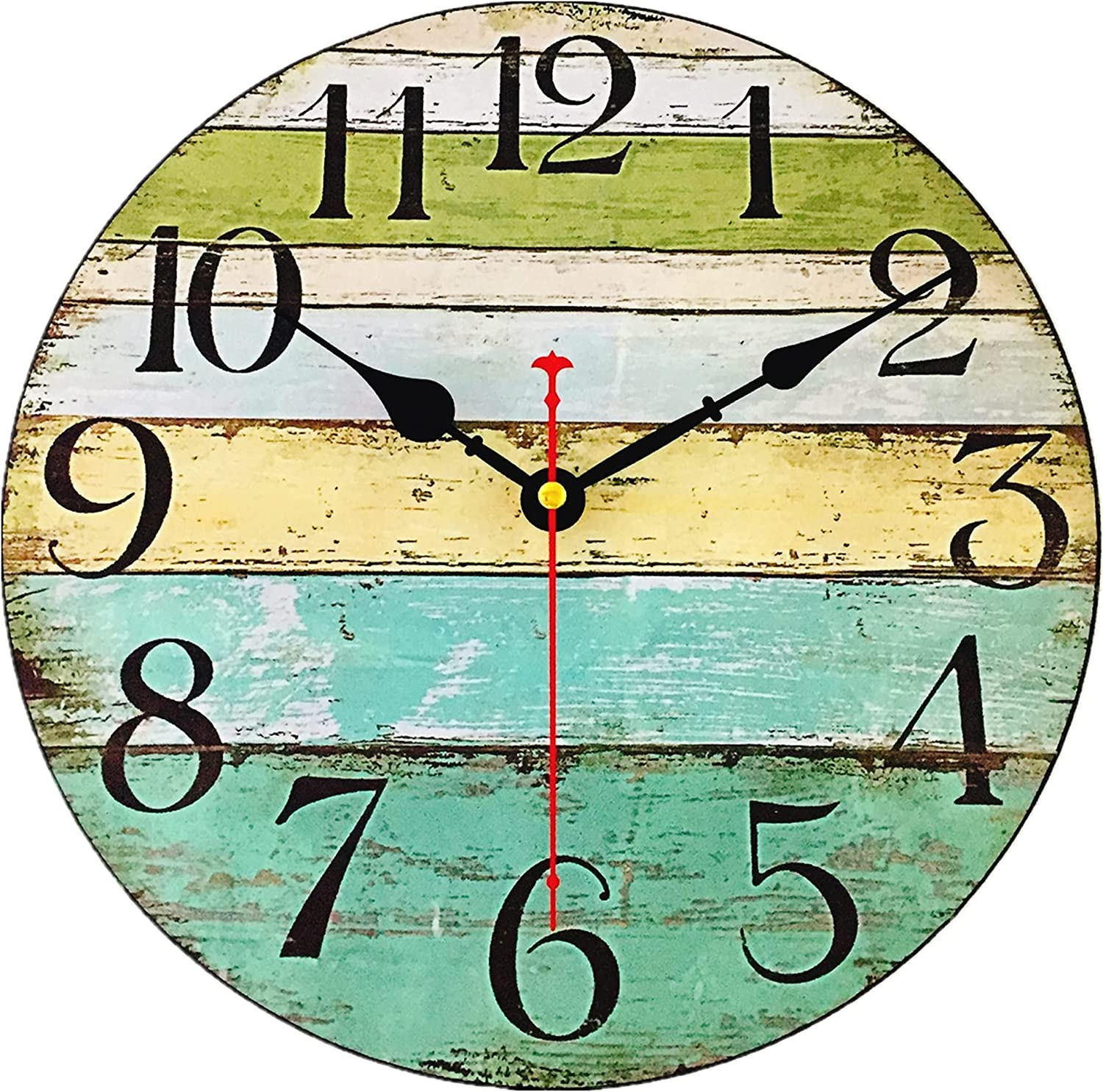 12 Inch Rustic Round Wall Clock Beach Decorative Clocks for Bedroom,Silent Analog Clocks Battery Operated,Farmhouse Decor Accessories for Home,Kitchen,Living Room