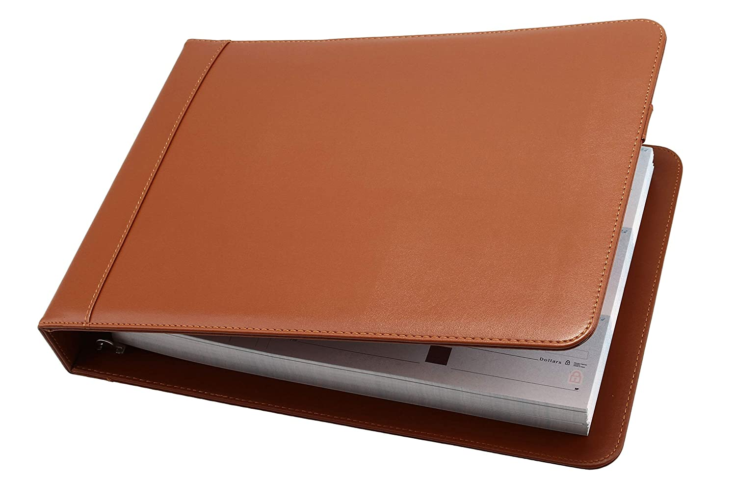 Red Business Check 7 Ring Binder for 3-Up Checks PU Leather Portfolio Checkbook Cover with Built in Storage Organizer