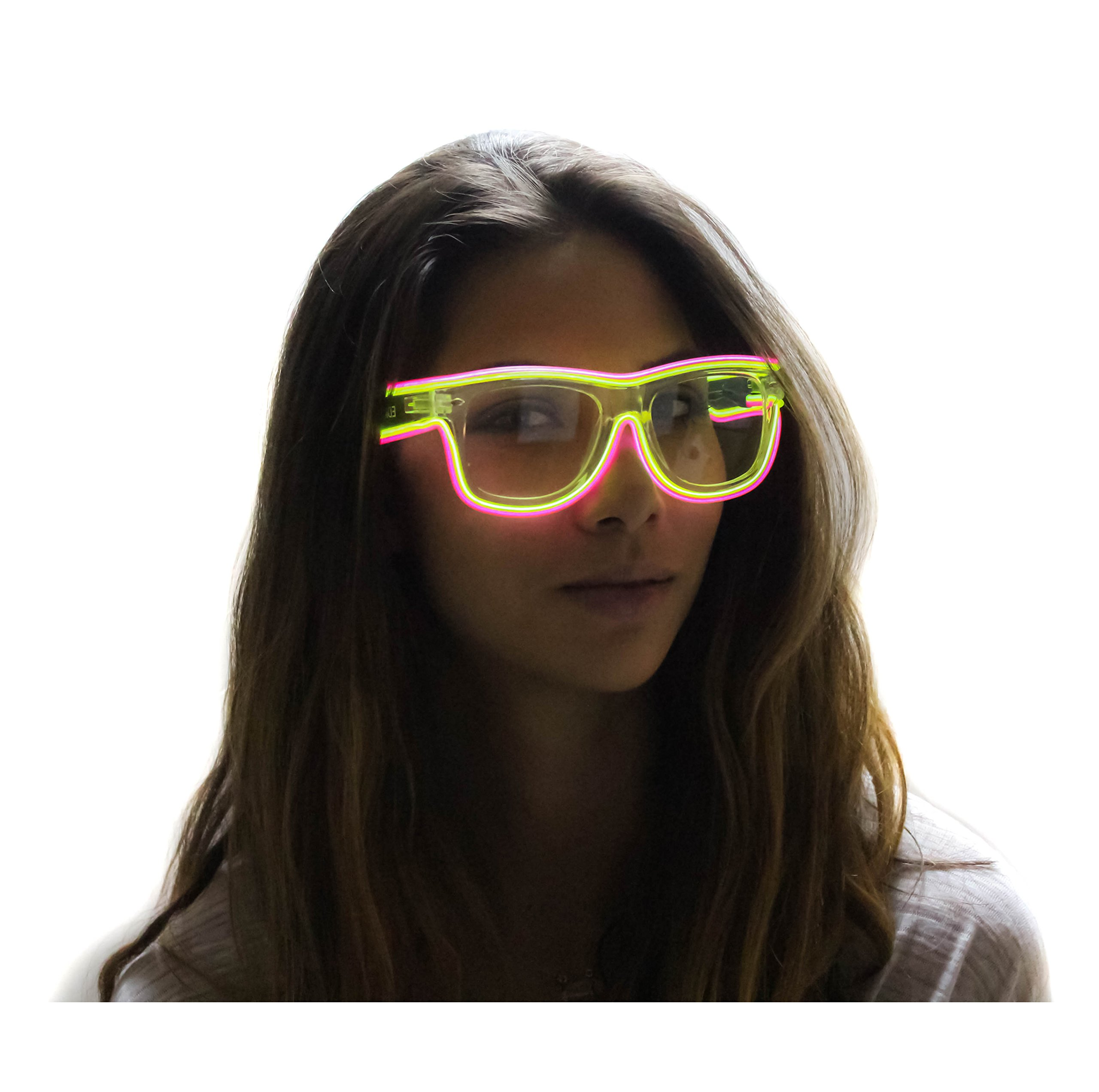 Clear Frame El Wire Glasses - Light Up Glasses - Rave Glasses (Green/Pink Double El Wire) by EDMPlug