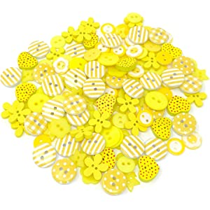 Green//Yellow 150 Mix Wood Acrylic /& Resin Buttons For Cardmaking Embellishments