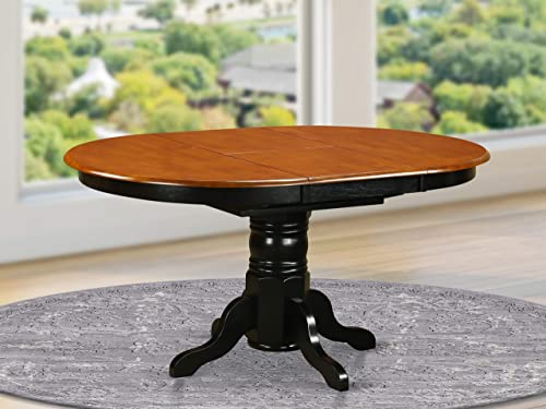 East West Furniture KET-BLK-TP Butterfly Leaf Oval Dining Table – Cherry Table Top and Black Finish Pedestal Legs Solid wood Frame Wood Kitchen Table