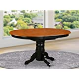 East West Furniture Butterfly Leaf Oval Dining Table - Cherry Table Top and Black Finish Pedestal Legs Solid wood Frame…