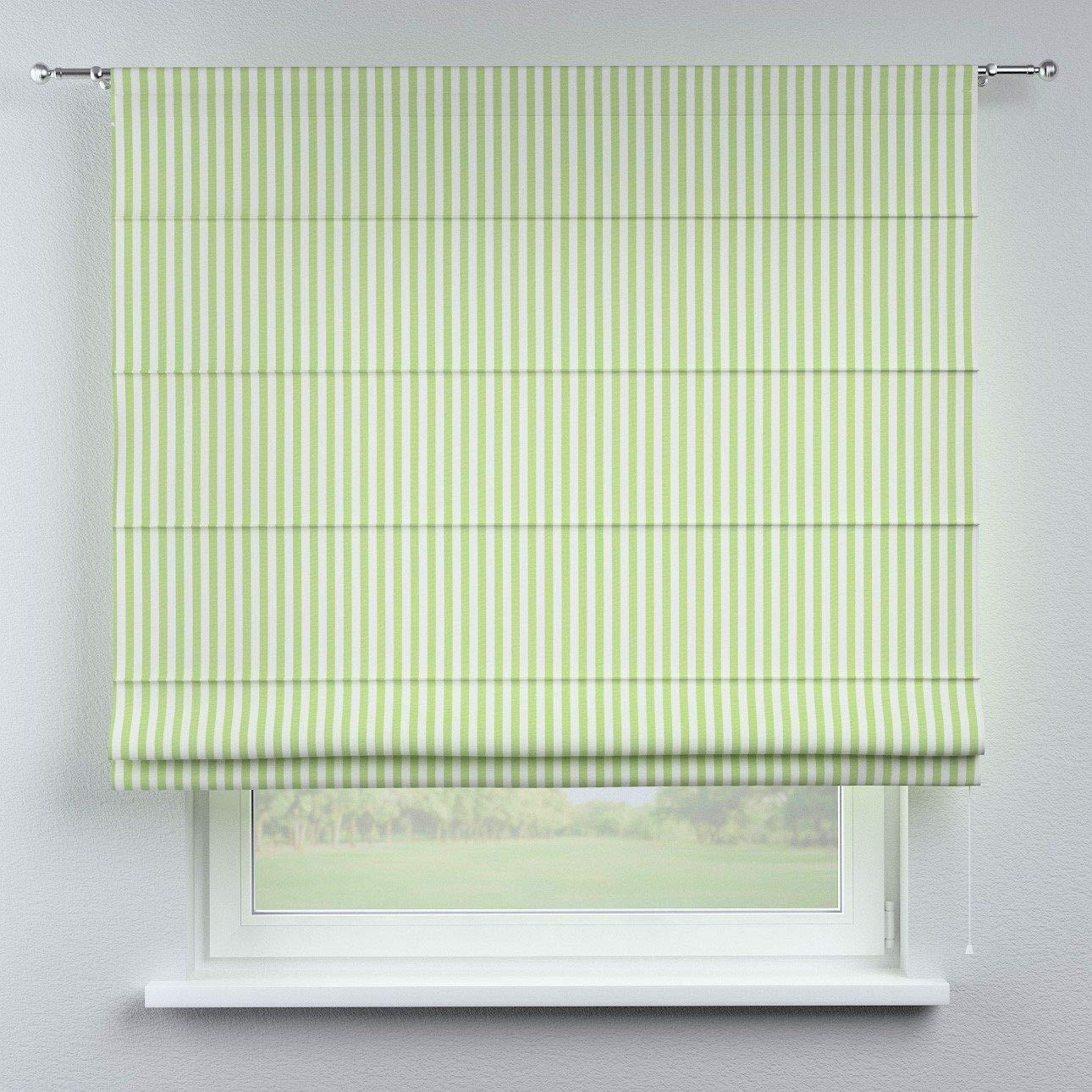 Dekoria Raffrollo Torino ohne Bohren Blickdicht Faltvorhang Raffgardine Wohnzimmer Schlafzimmer Kinderzimmer 130 × 170 cm Weiss-grün gestreift Raffrollos auf Maß maßanfertigung möglich