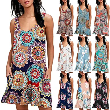ad6989705ee64 FuDaBang Women Summer Sleeveless Pockets Casual Swing T Shirt Dresses Beach  Cover up Plain Pleated Tank Dress at Amazon Women's Clothing store: