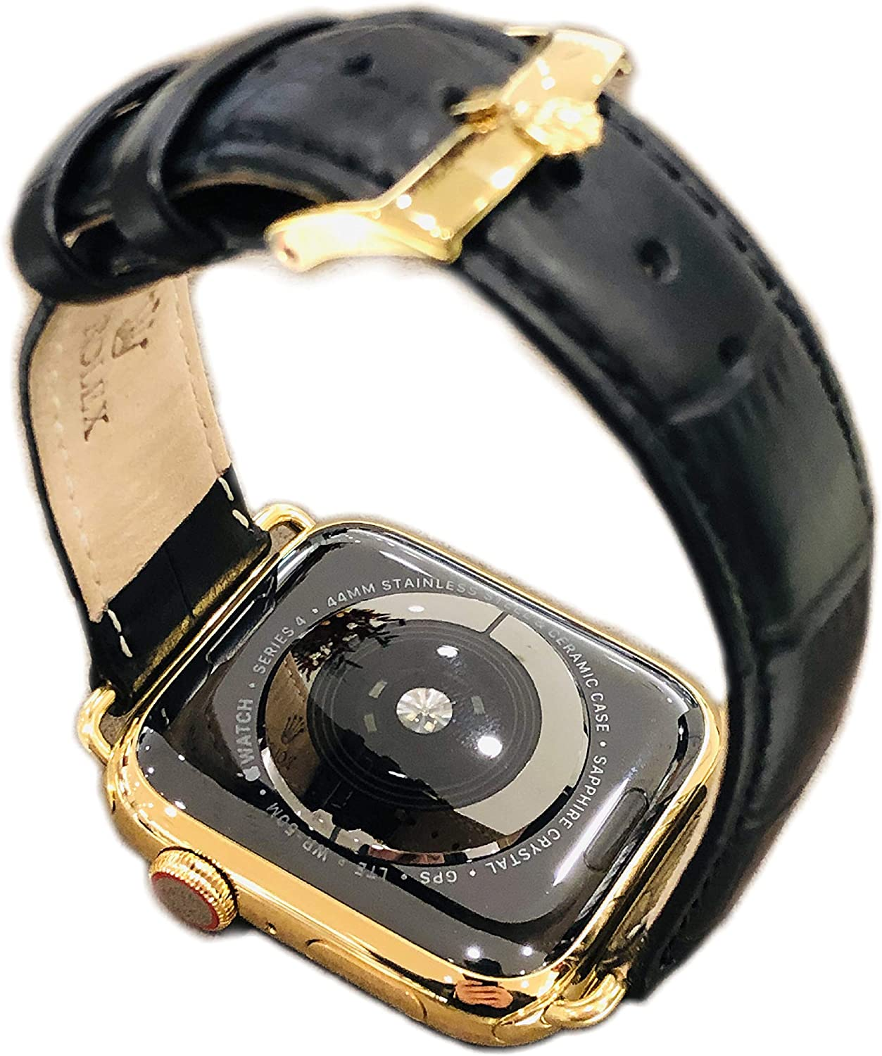 De Billas Lux Custom 24K Gold Plated 44MM iWatch Series 4 with Black Alligator Leather Rolex Buckle Band LTE+GPS US Version