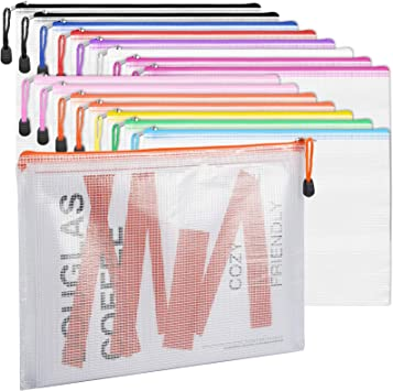 LABUK 24pcs Mesh Zipper Pouch A4 Size//Letter Size Board Game Bags Plastic Zipper Pouch Zip File Bag for Office School Travel Storage 12 Colors