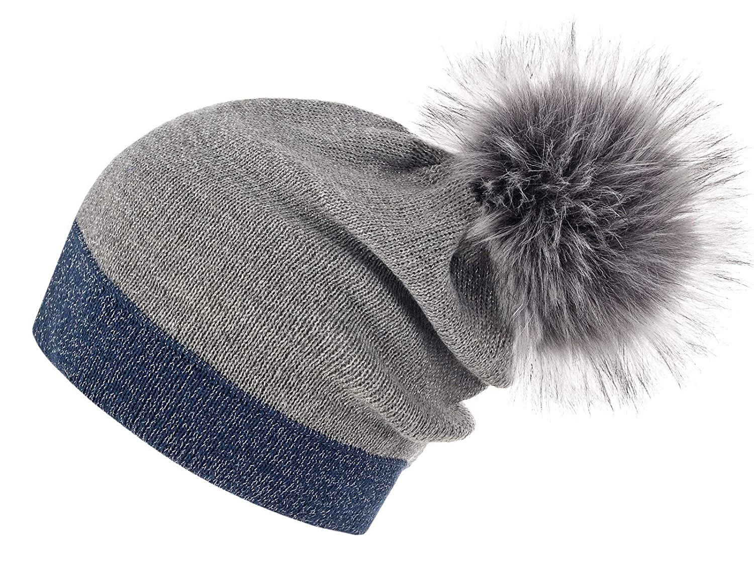 bluee Grey Silver Raccoon Dog Futrzane Women's Slouchy Beanie Hat with a Faux Fur Pom Pom