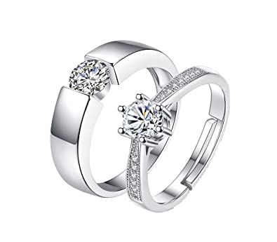 27b040ad3 Buy Dc Jewels Sterling Silver Swarovski Solitaire Adjustable Couple Rings  For Men And Women (2Pc) Online at Low Prices in India | Amazon Jewellery  Store ...