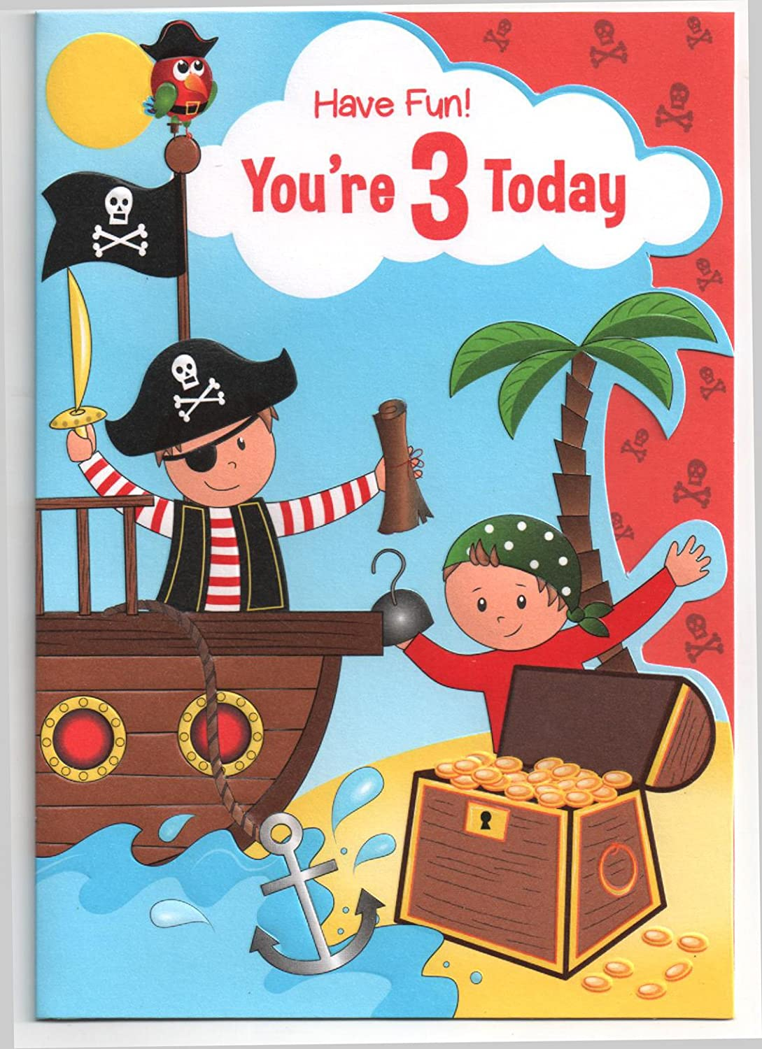 Birthday Card For Three 3 Year Old Boy Free 1st Class Post UK Amazoncouk Office Products