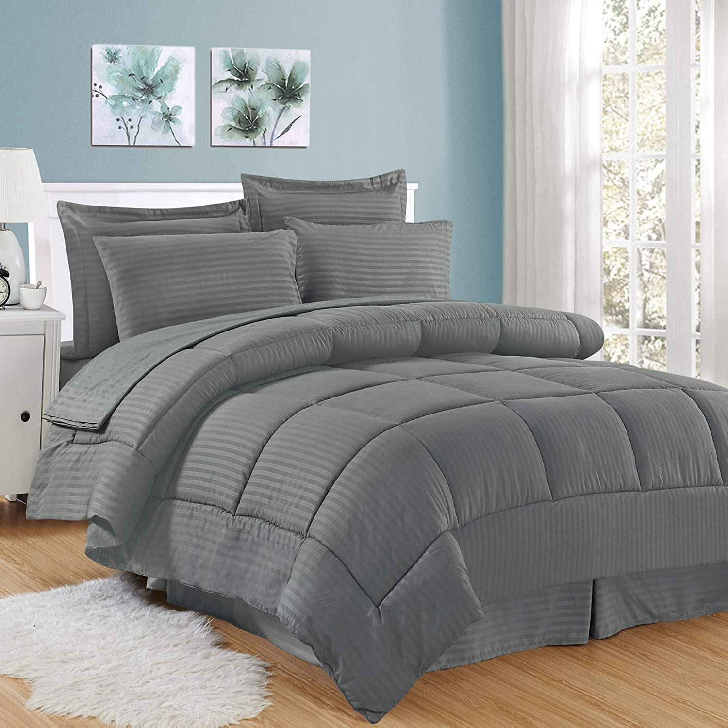 Sweet Home Collection 8 Piece Bed In A Bag with Dobby Stripe Comforter, Sheet Set, Bed Skirt, and Sham Set - King - Gray