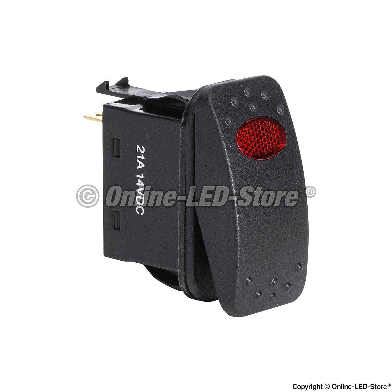 5pc 12V DC 20A 3-Pin SPST LED On//Off Rocker Switch Kit Green ONLINE LED STORE