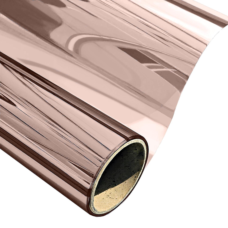 ウィンドウフィルムソーラー反射ウィンドウTint No Glue Static Cling自己粘着装飾熱断熱材1 Way Daytimeプライバシーガラスステッカー、brown-silver 35.4