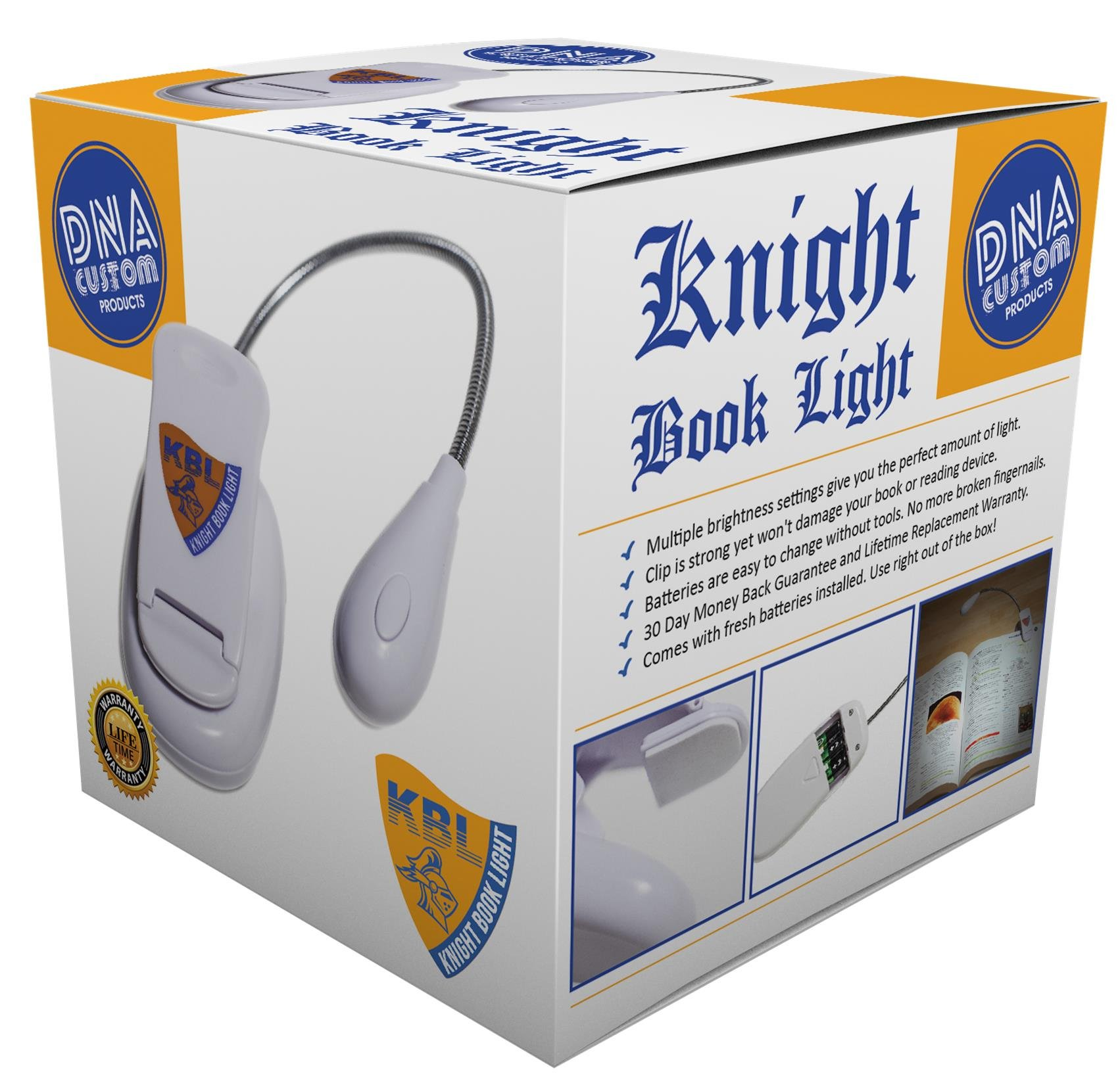 Knight Book Light - 2 LED settings for Reading in Bed. Lightweight and Flexible lamp. Batteries Included!