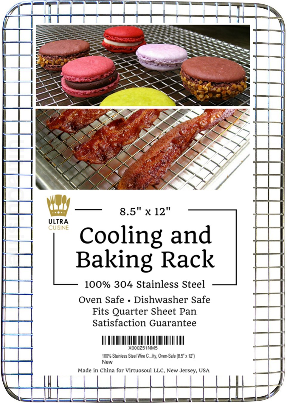 "Ultra Cuisine 100% Stainless Steel Thick Wire Cooling & Baking Rack fits Quarter Sheet Pan, Oven Safe Heavy Duty Commercial Quality for Roasting, Cooking, Grilling, Drying (8.5"" x 12"")"