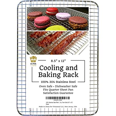Ultra Cuisine 100% Stainless Steel Thick Wire Cooling & Baking Rack fits Quarter Sheet Pan, Oven Safe Heavy Duty Commercial Quality for Roasting, Cooking, Grilling, Drying (8.5  x 12 )