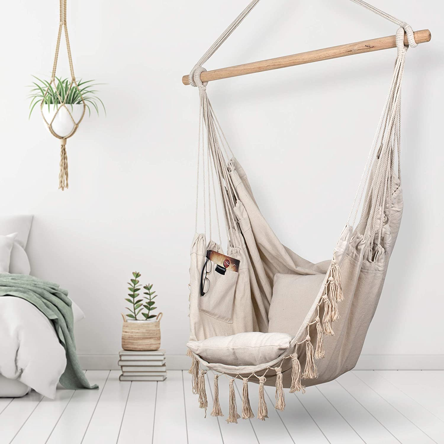 Komorebi Hammock Chair | Hanging Rope Swing Seat for Indoor & Outdoor | Soft & Durable Cotton Canvas | 2 Cushions Included | Large Reading Chair with Pocket for Bedroom, Patio, Porch (Ivory)