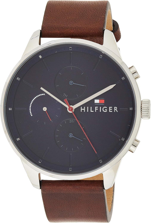 Tommy Hilfiger Reloj Multiesfera para Hombre de Cuarzo con Correa en Cuero 1791487
