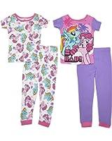 "My Little Pony Girls ""SO RAD!""4- Piece Cotton Pajama Set"