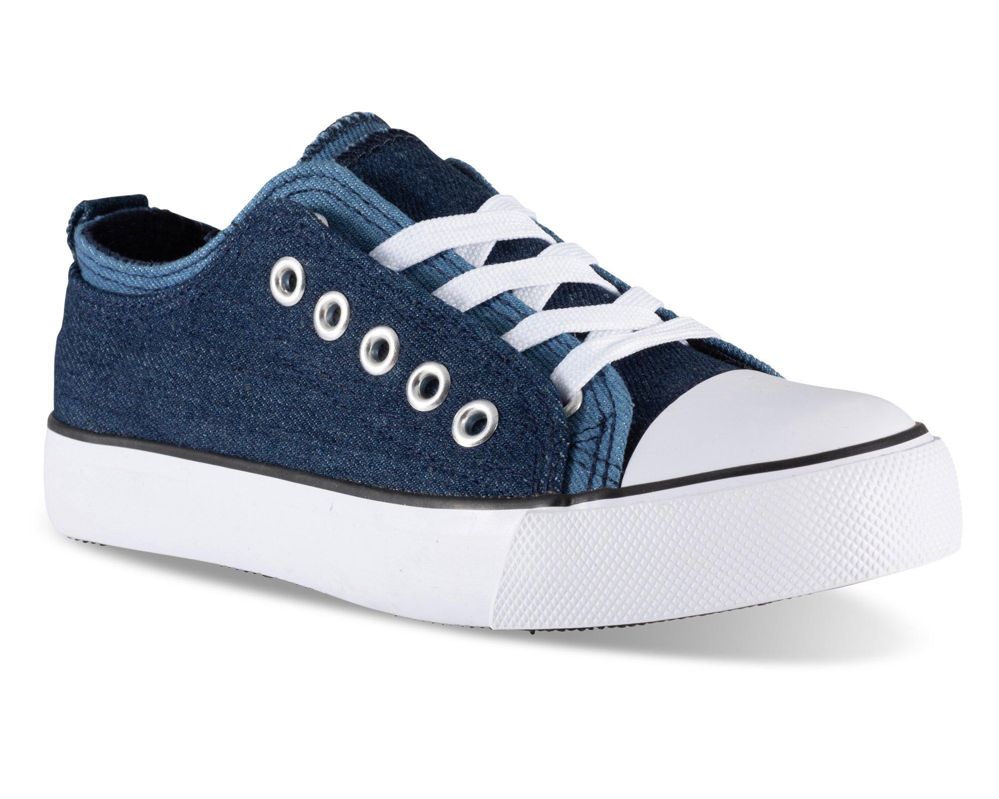 Twisted Girl's Canvas KIX Double Upper Lo-Top Sneaker - Denim/Denim, Size 13
