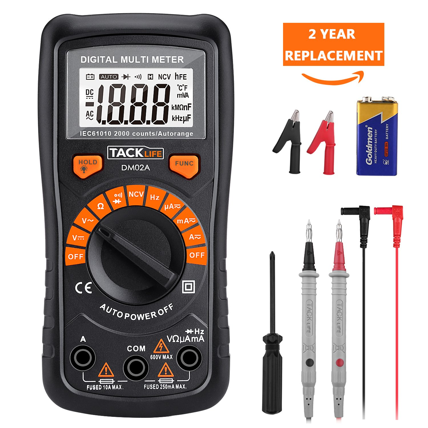 Multimeter Tacklife DM02S Auto-Ranging Digital Multimeters NCV Electrical Tester Multimeter Tester Volt Amp Ohm Diode, Continuity Test Meter LCD Backlight Measurement Tools with Screwdriver by TACKLIFE (Image #1)