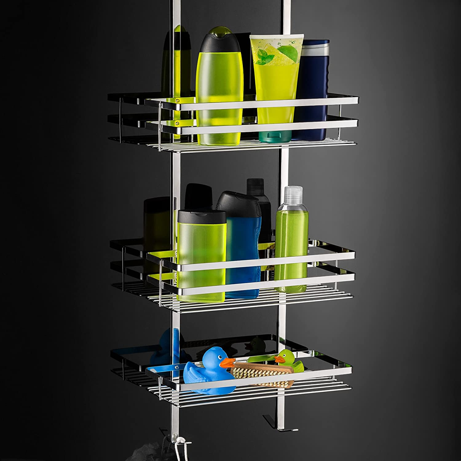 TecTake Stainless Steel Hanging Shower Caddy Cubicle Tidy 3 Shelves ...
