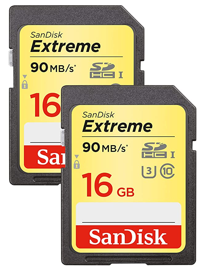SanDisk SDSDXNE-16GB-GNCI2 Extreme - Tarjeta de memoria SDHC de 16 GB (hasta 90MB/s, Clase10 U3, pack de 2)