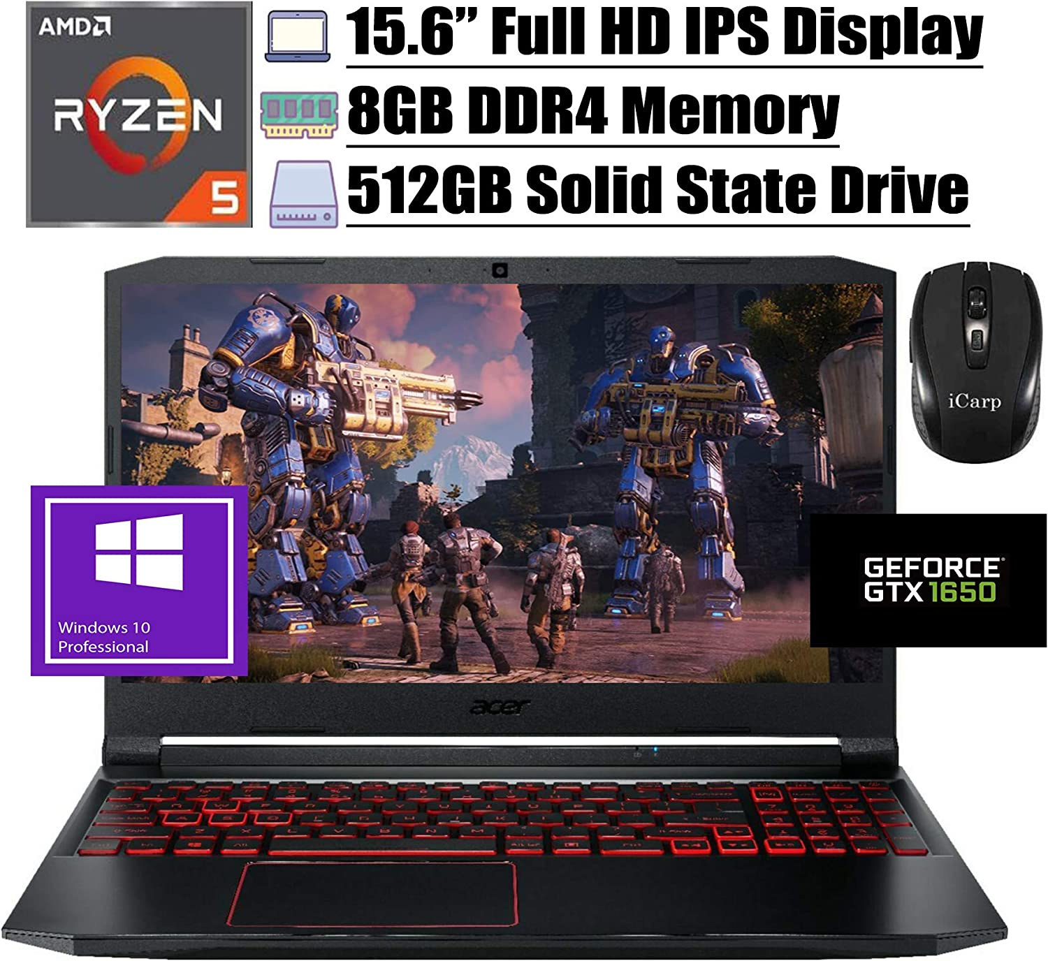 "2020 Flagship Acer Nitro 5 15 Gaming Laptop 15.6"" Full HD IPS Display AMD Hexa-Core Ryzen 5 4600H (Beats i7-9750H) 8GB DDR4 512GB SSD 4GB GTX 1650 Backlit WiFi HDMI Win 10 Pro + iCarp Wireless Mouse"