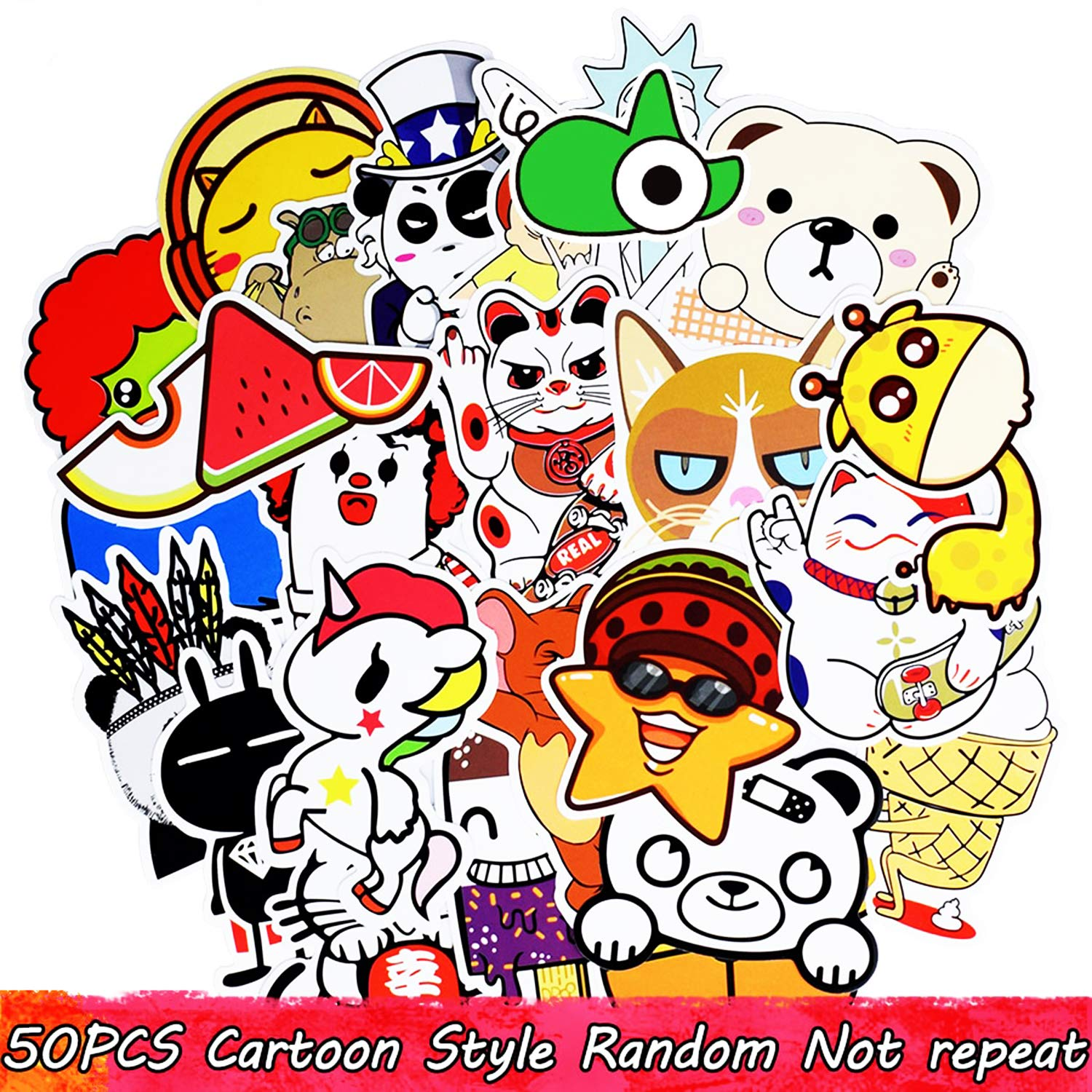 Amazon com 50pcs mixed cartoon style jdm sticker anime funny stickers for children diy laptop suitcase skateboard moto bicycle car toy stickers computers