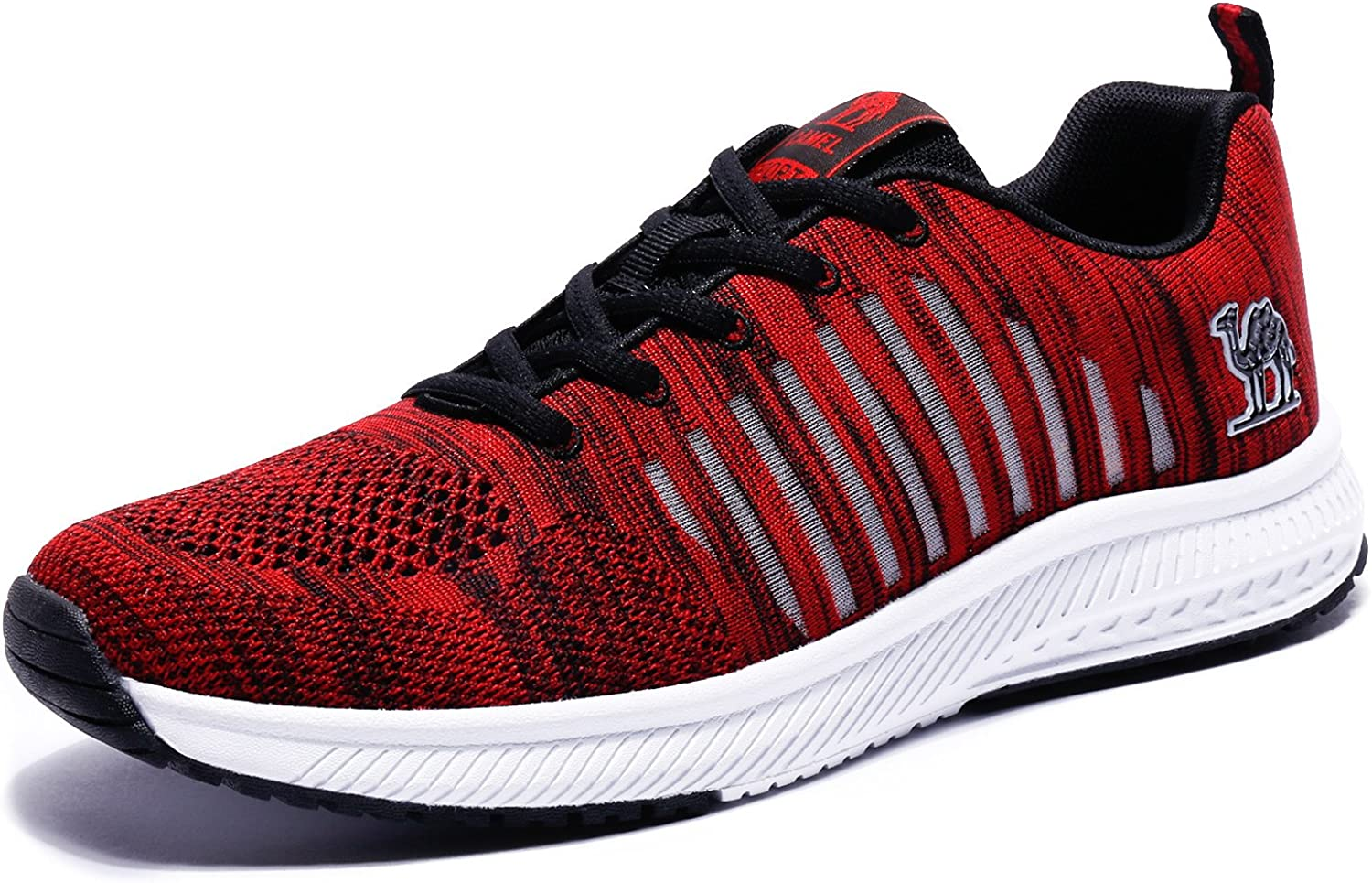 Camel Men s Breathable Mesh Running Shoes Lightweight Athletic Sneakers Sports Non-Slip Fashion Walking Shoes,Red,8 D M US