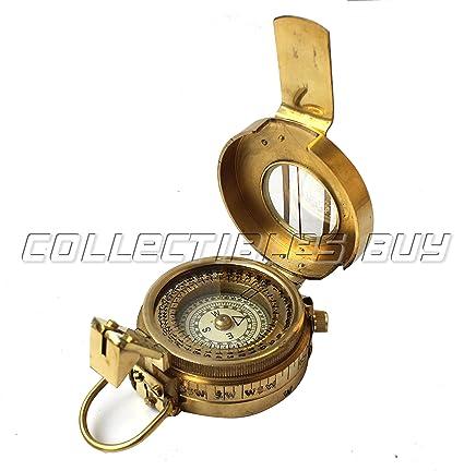 Antique Brass Nautical Beautiful Military Pocket Compass Antiques Maritime