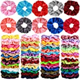 80 Pcs Silk Satin Hair Scrunchies 40 color Hair Bobbles Ponytail Holder Hair Accessories Scrunchy Solid Color Hair Ties