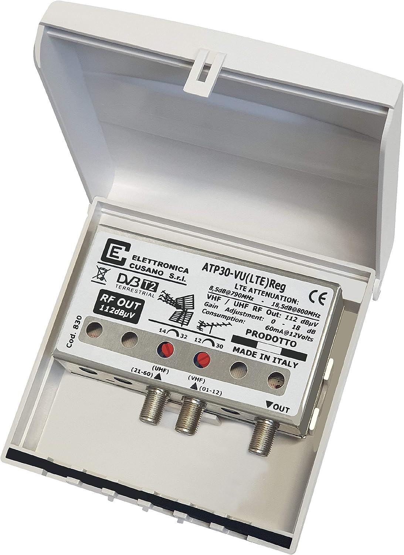 Elettronica Cusano - Amplificador Antena TV de mástil con Filtro Lte/4G, Ganancia máxima 32 dB (Regulable), Amplificador Antena TV 2 entradas; VHF + ...