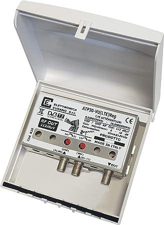 Elettronica Cusano - Amplificador Antena TV de Poste con Filtro Lte/4G, Ganancia máxima 32 dB (Ajustable), Amplificador Antena TV 2 entradas; VHF + UHF, Amplificador Bandas separadas, Gris: Amazon.es: Electrónica