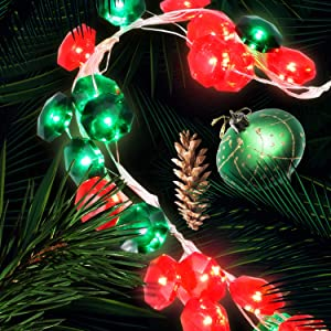 Lauva Red & Green Crystal Diamond Fairy Lights, St Patricks Day Valentine's Day Party Decoration Lights String with 12 Mode & Remote Timer,10ft 40LED Lights Battery Operated for Home Garden Tree