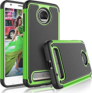 Tekcoo for Moto Z2 Force Case, for Motorola Z2 Force Cute Case, [Tmajor] Shock Absorbing [Green] Rubber Silicone & Plastic Scratch Resistant Bumper Grip Hard Cases Cover for Moto Z Force 2017