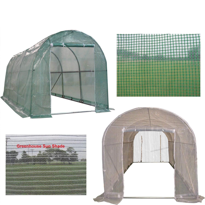 DELTA Canopies Green Garden Hot House Walk In Greenhouse 15'x7' + Sun Shade Cover