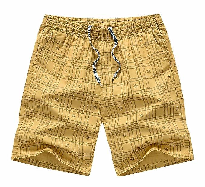 Aieoe Pantalones Cortos de Verano para Hombre Estilo Simple de Algodón Transpirable Suave con Bolsillos Casuales… FwB31itdDM